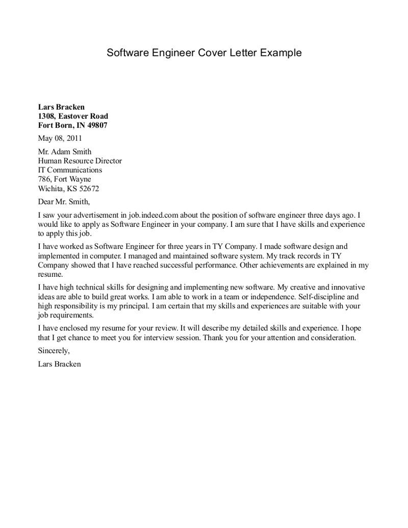 cover letter for internship engineer software engineer cover letter example lars bracken