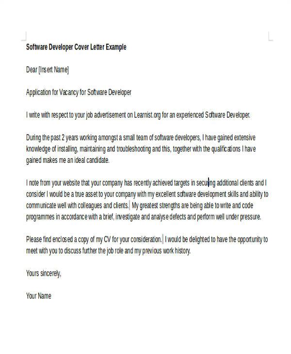 software developer cover letters