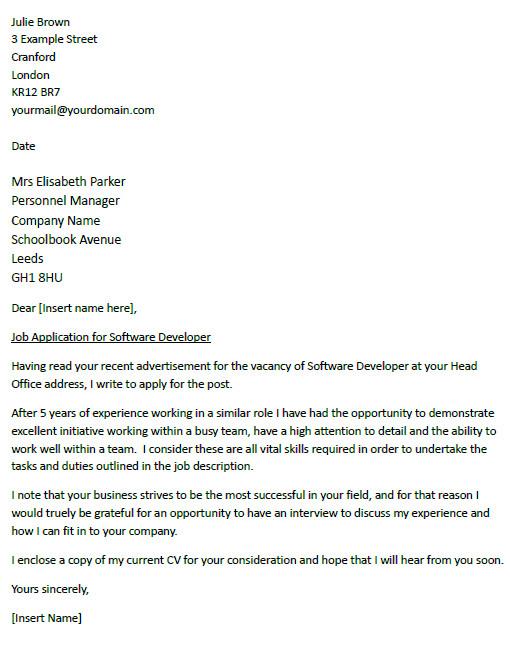 cover letter for a software developer