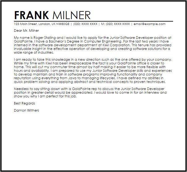 Cover Letter for software Developer Position Junior software Developer Cover Letter Sample Cover