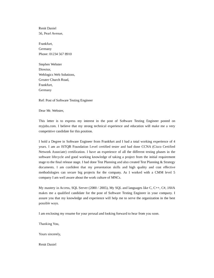 Cover Letter for software Test Engineer software Test Engineer Cover Letter Samples and Templates