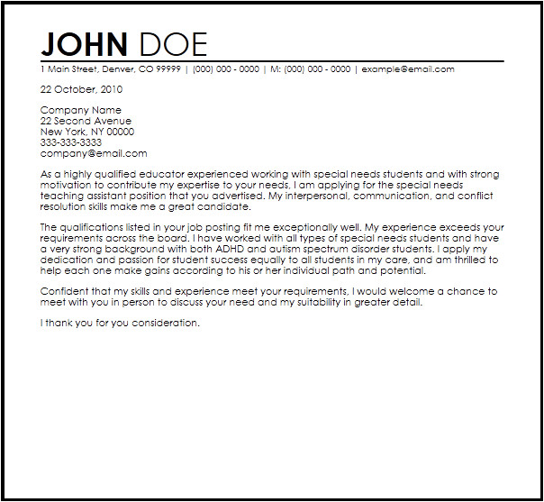 Cover Letter for Special Needs assistant Free Special Needs Teaching assistant Cover Letter