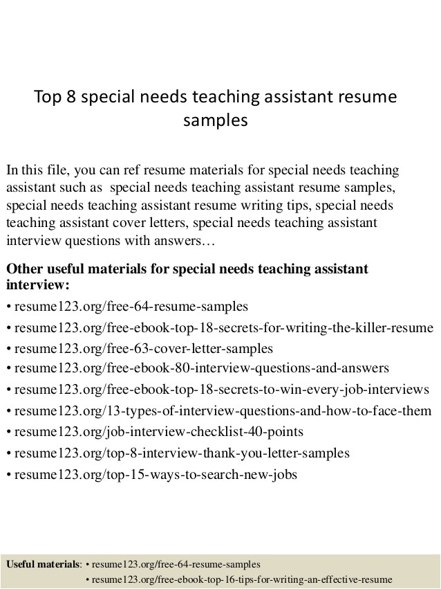 Cover Letter for Special Needs assistant Resume Samples for Teachers assistant