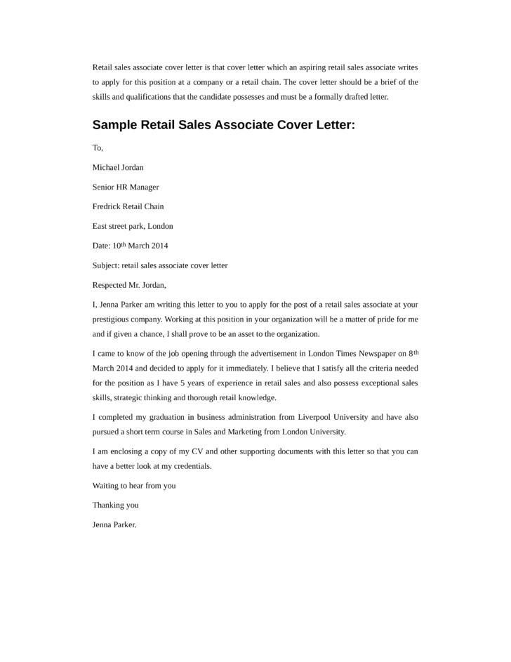 Cover Letter for Store associate Basic Retail Sales associate Cover Letter Samples and