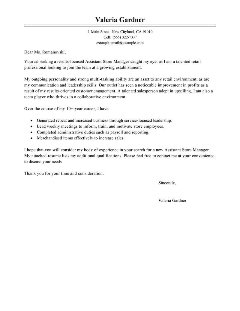 Cover Letter for Store associate Best Retail assistant Store Manager Cover Letter Examples