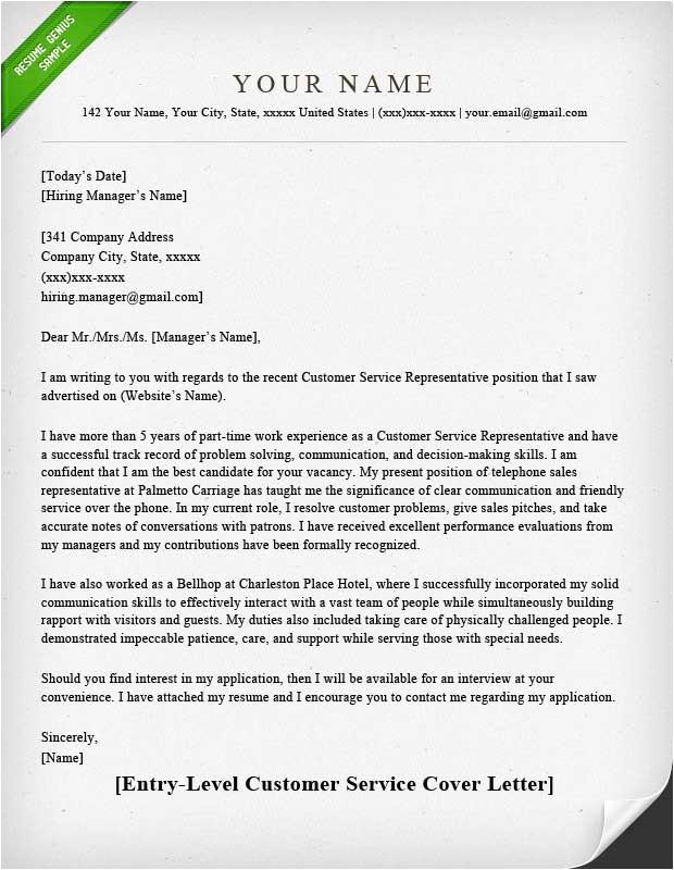 Cover Letter for Supervisor Position Customer Services Customer Service Cover Letter Samples Resume Genius