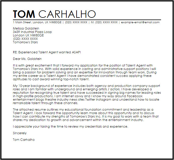 Cover Letter for Talent Agency Talent Agent Cover Letter Sample Cover Letter Templates