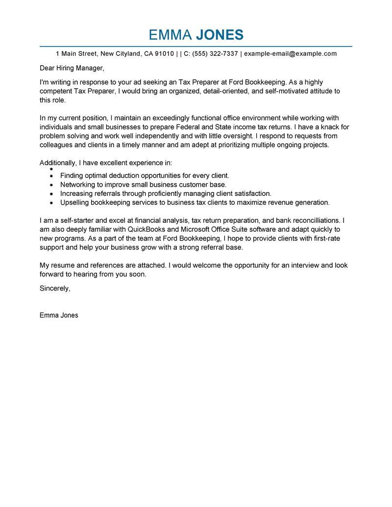 tax preparer cover letter sample