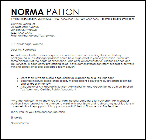 Cover Letter for Tax Position Tax Manager Cover Letter Sample Cover Letter Templates