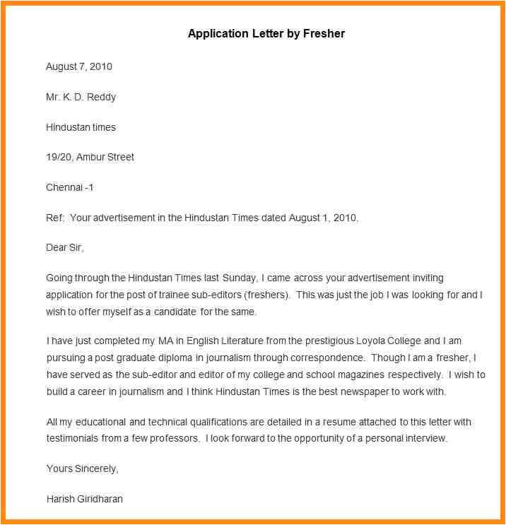 10 application letter for teacher job for fresher
