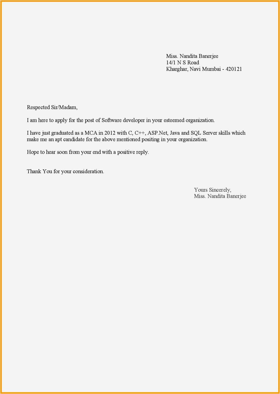 application letter for teacher job for fresher