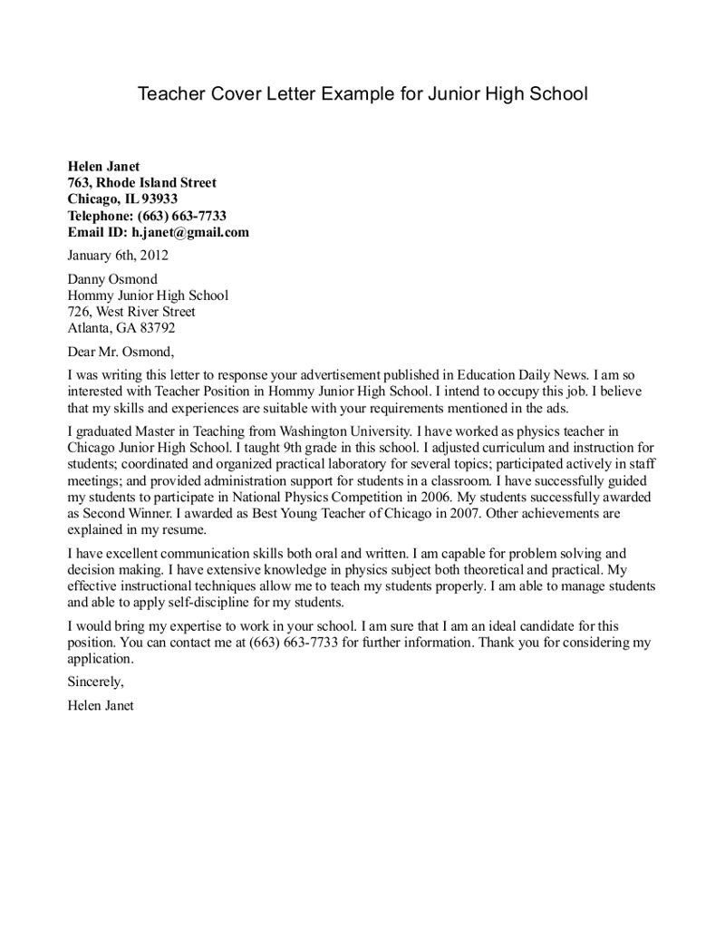 Cover Letter for Teaching Job In School Teacher Cover Letter Examples Cover Letter format for