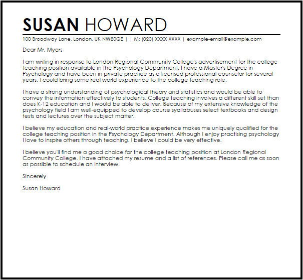 sample cover letter for a college teaching position