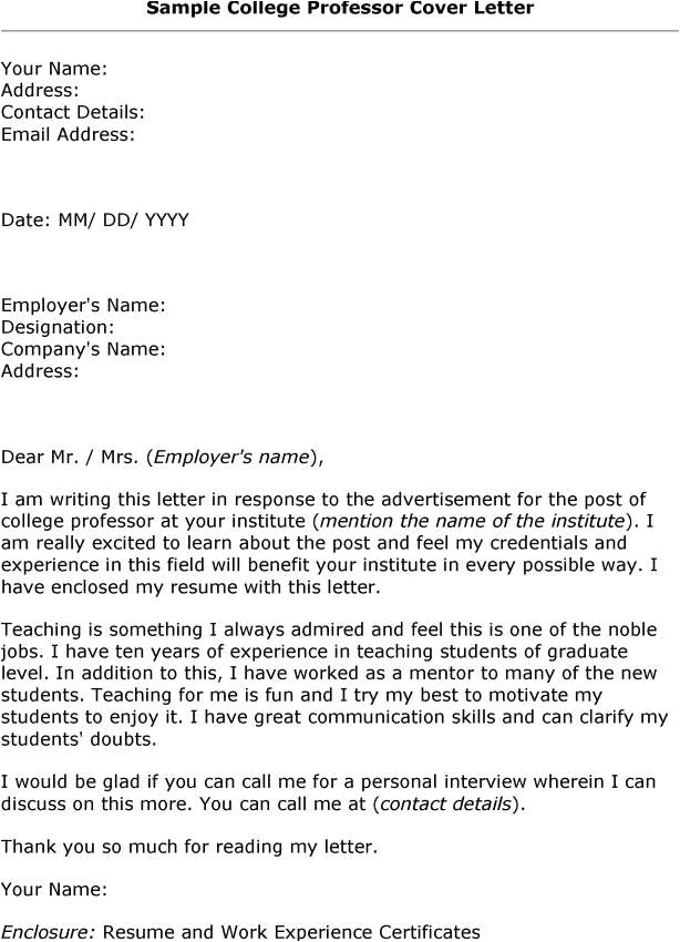cover letter example for college teachers