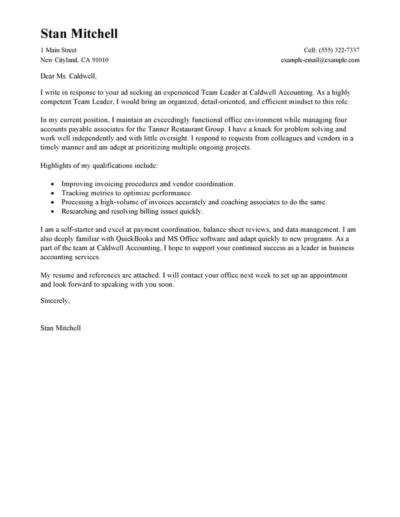 Cover Letter for Team Leader Position Examples Best Management Team Lead Cover Letter Examples Livecareer