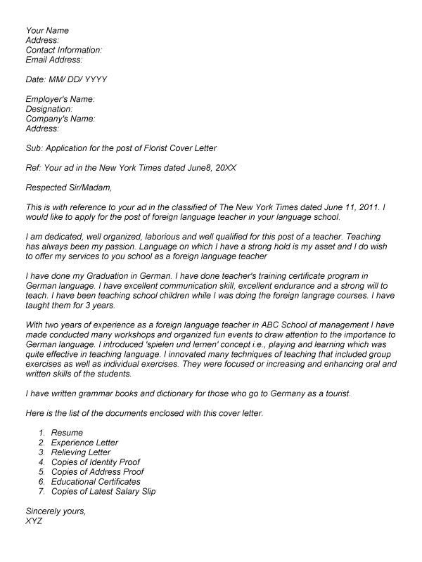 cover letter for the post of english teacher