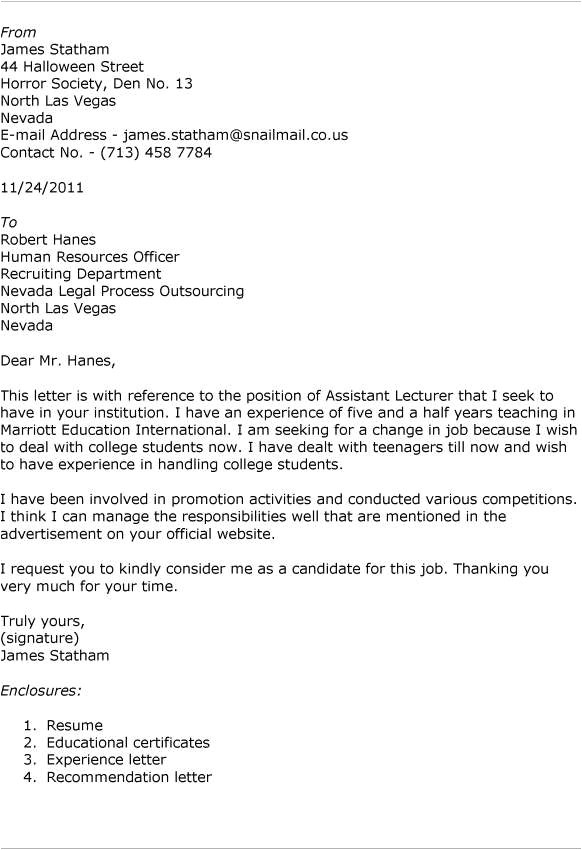 Cover Letter for the Post Of Lecturer Cover Letter Samples for Lecturer Post tomyumtumweb Com