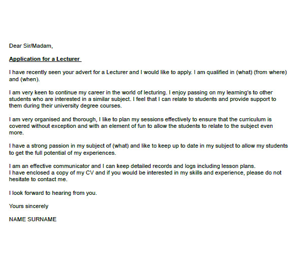 lecturer cover letter example