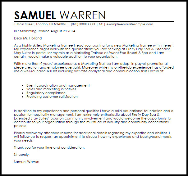 Cover Letter for Trainee Accountant Position Marketing Trainee Cover Letter Sample Cover Letter