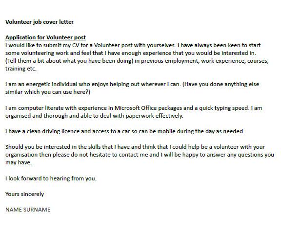 Cover Letter for Volunteer Position In Hospital Application Letter to Be A Volunteer Help Dissertation