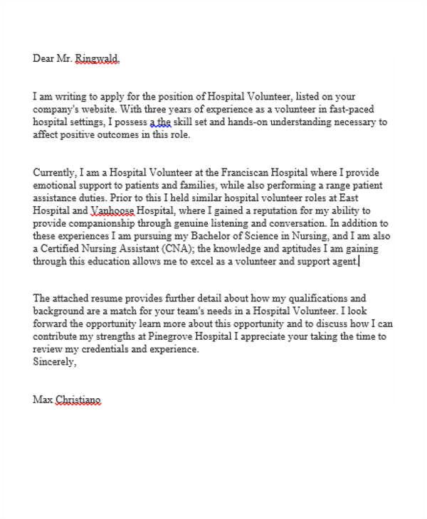 job application letter for hospital volunteer photo album for website sample cover letter for volunteer position in hospital