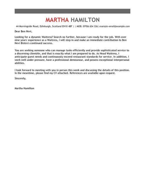 Cover Letter for Waitressing Job Waitress Cover Letter Template Cover Letter Templates