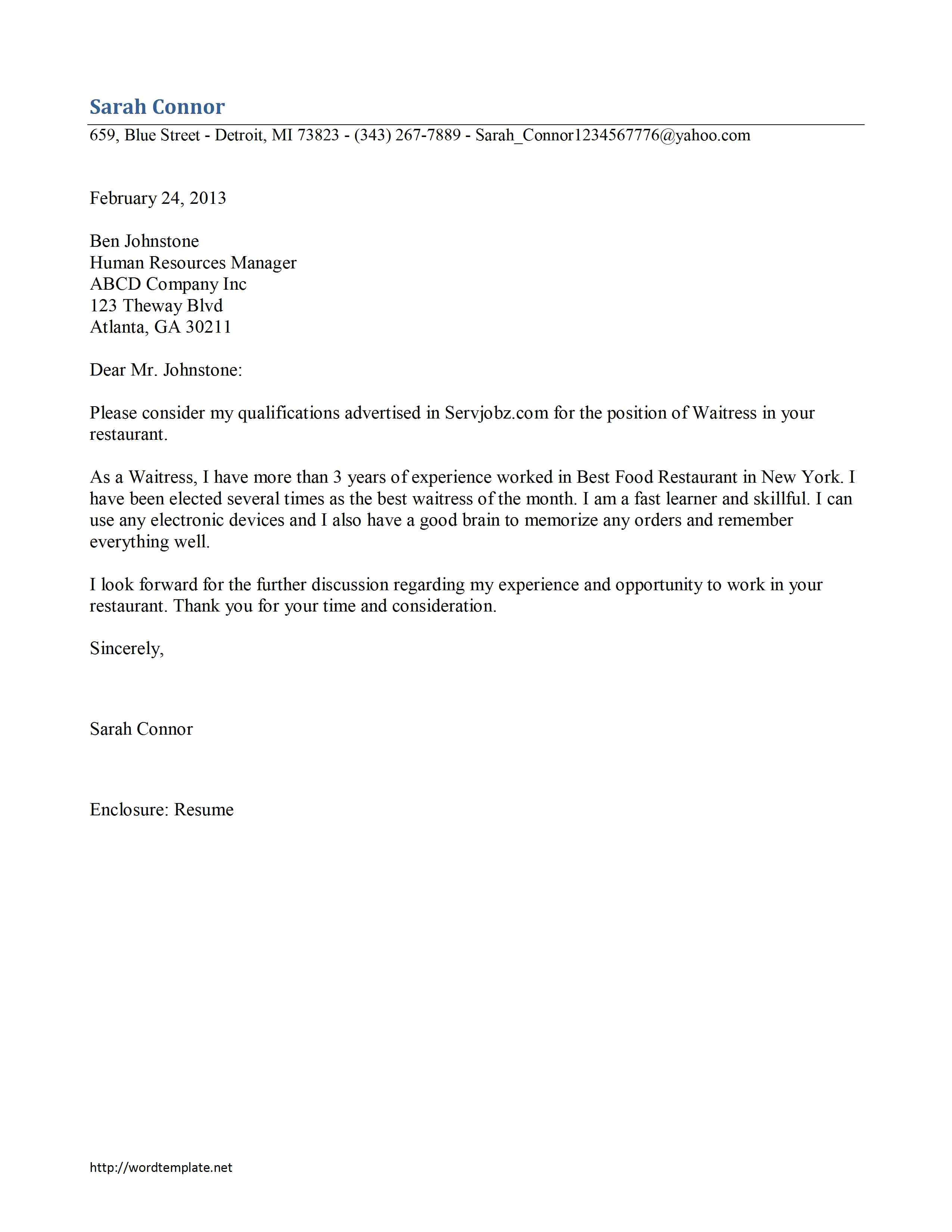 Cover Letter for Waitressing Job Waitress Cover Letter Template