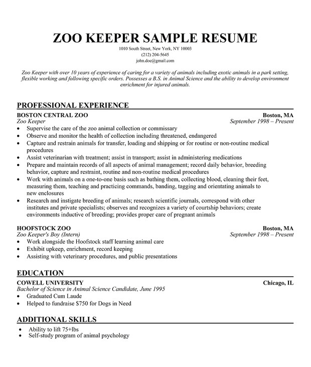 Cover Letter for Working with Animals Zoo Keeper Sample Resume A Zookeepers Life Pinterest