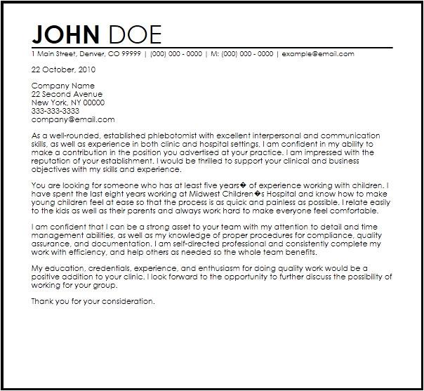 phlebotomist letter template