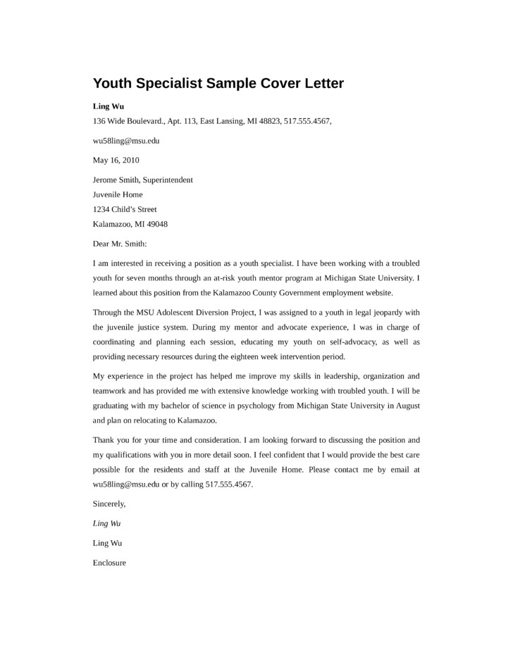 Cover Letter for Working with Youth Cover Letter for Working with Youth