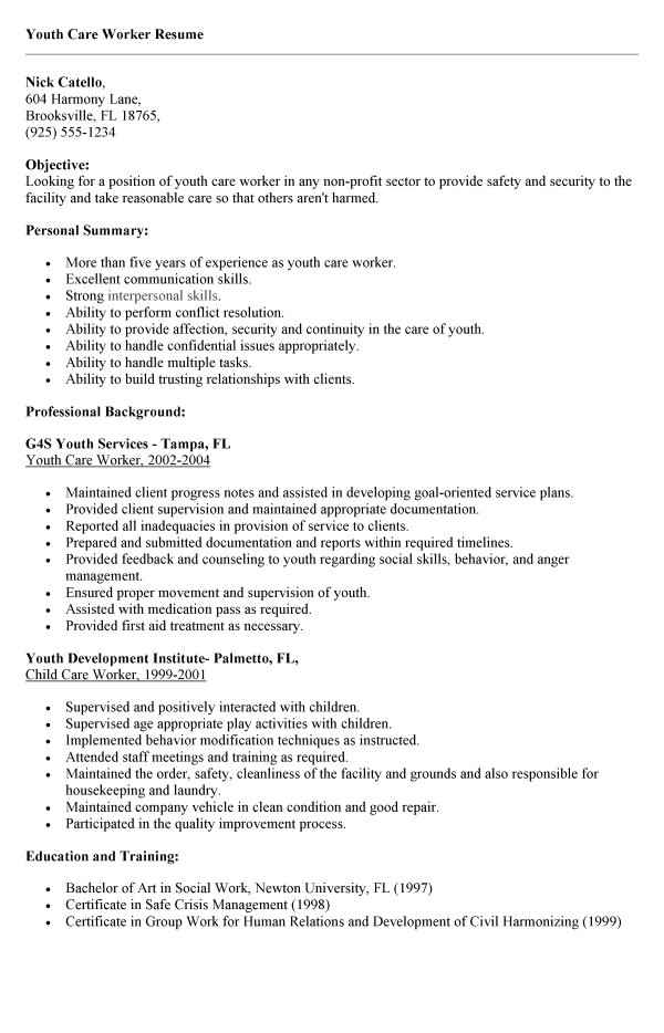 cover letter for working with youth