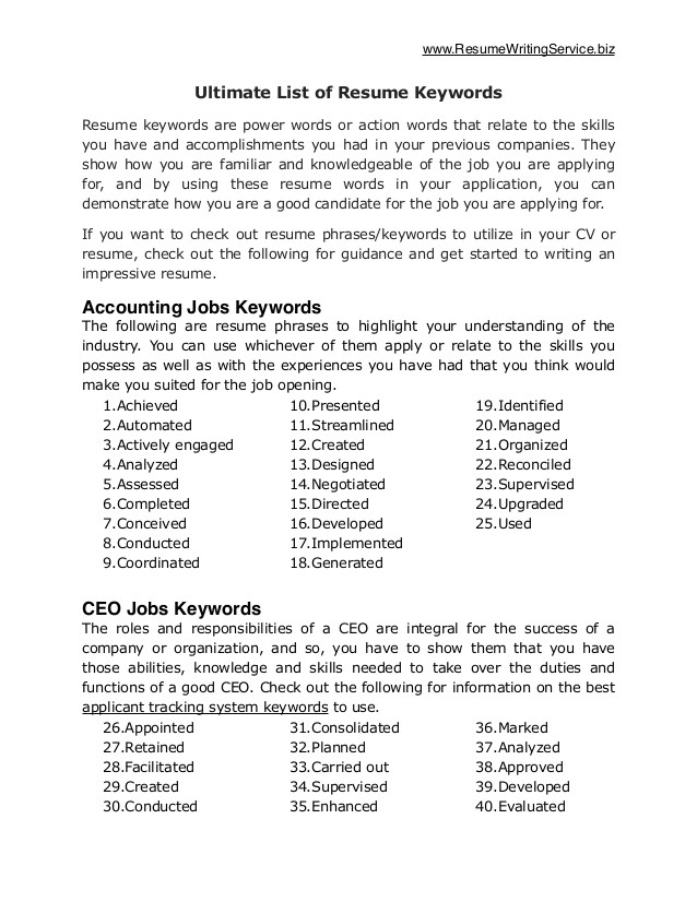 Cover Letter Keywords and Phrases Ultimate List Of 500 Resume Keywords