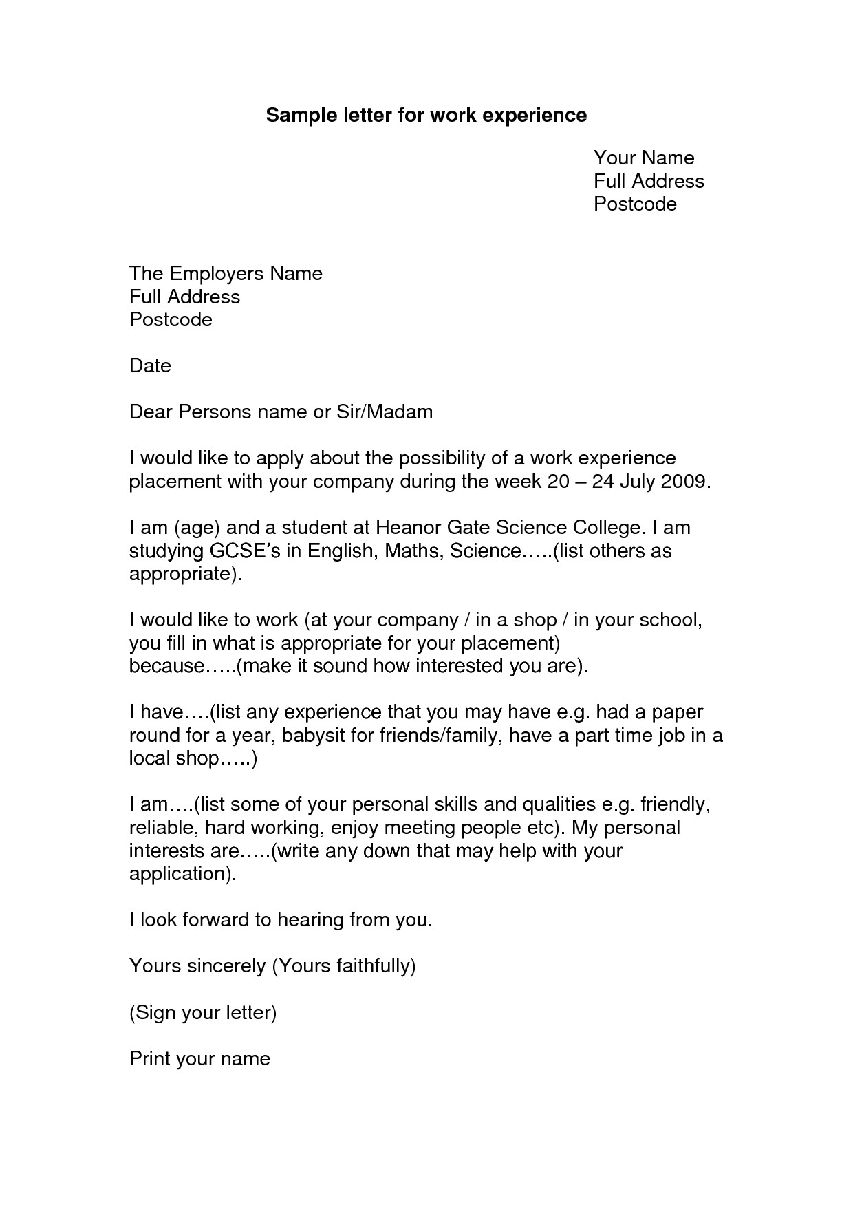 Cover Letter Looking for Work Work Experience Letter Example Google Search Looking