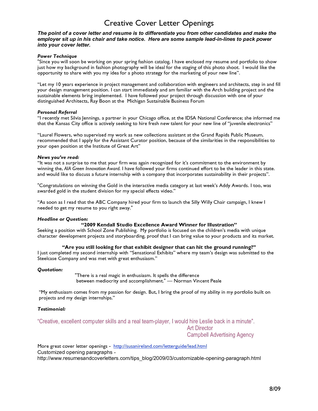 Cover Letter Opening Line Examples Cover Letter Opening Project Scope Template