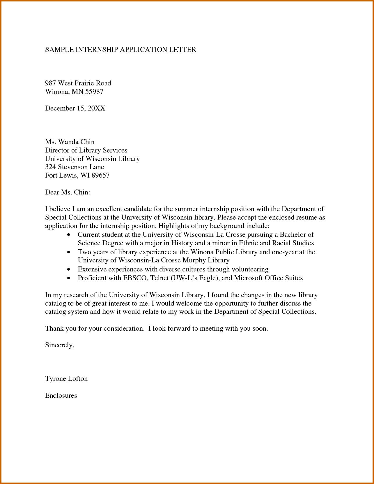 7 internship request letter example