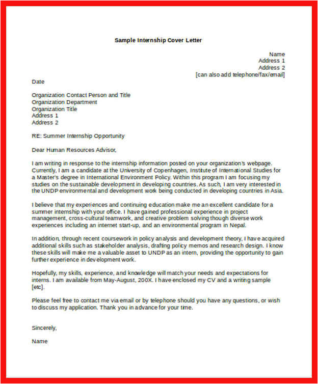 Cover Letter Requesting Internship Internship Request Letter Apa Example