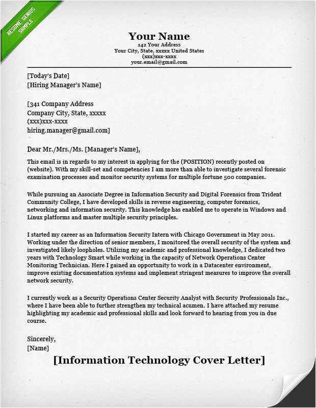 Cover Letter Sample for Information Technology Position Information Technology It Cover Letter Resume Genius
