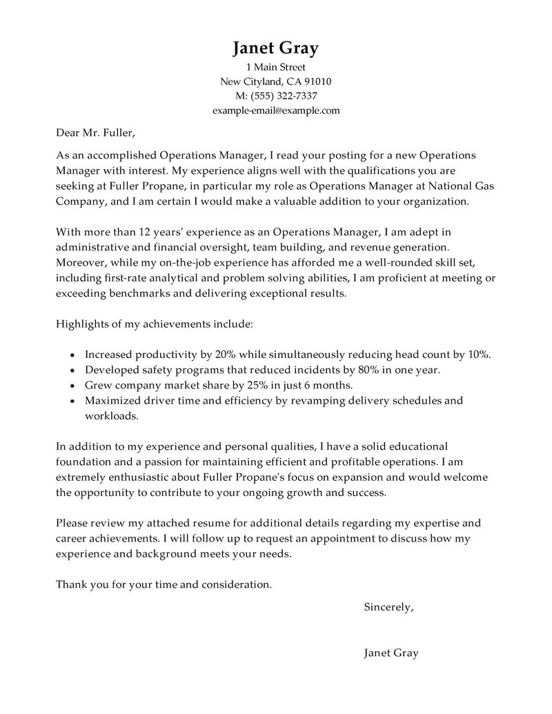 Cover Letter Sample for Oil and Gas Company Cover Letter Example for Oil and Gas Company