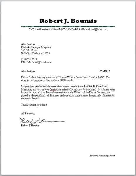manuscript submission cover letter