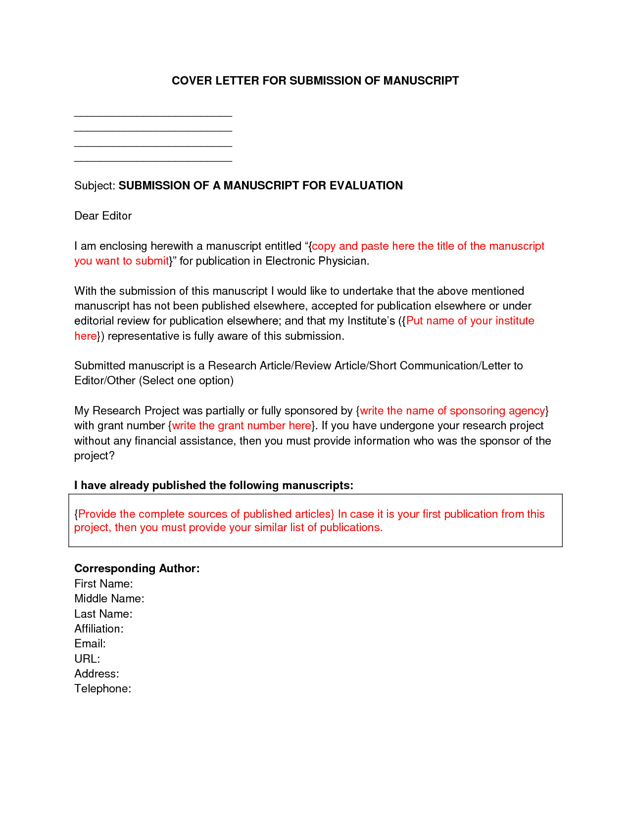 Cover Letter Sample for Submitting Manuscript Manuscript Cover Letter Sample Best Letter Sample