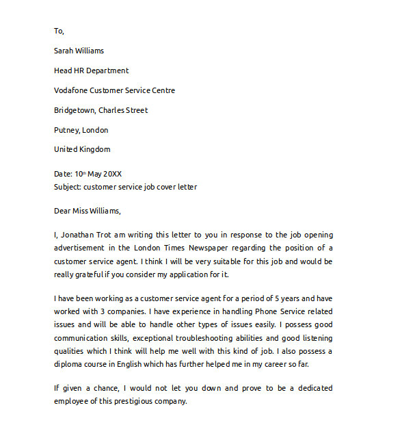 sample cover letter example for job