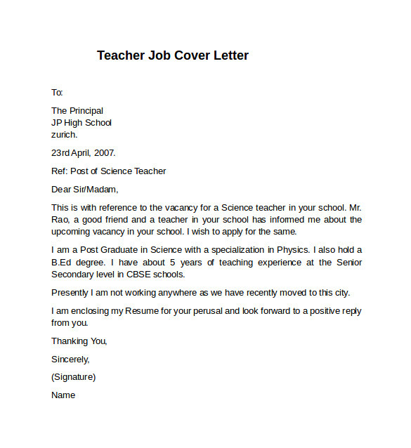 Cover Letter Samples for Teaching Positions 10 Teacher Cover Letter Examples Download for Free
