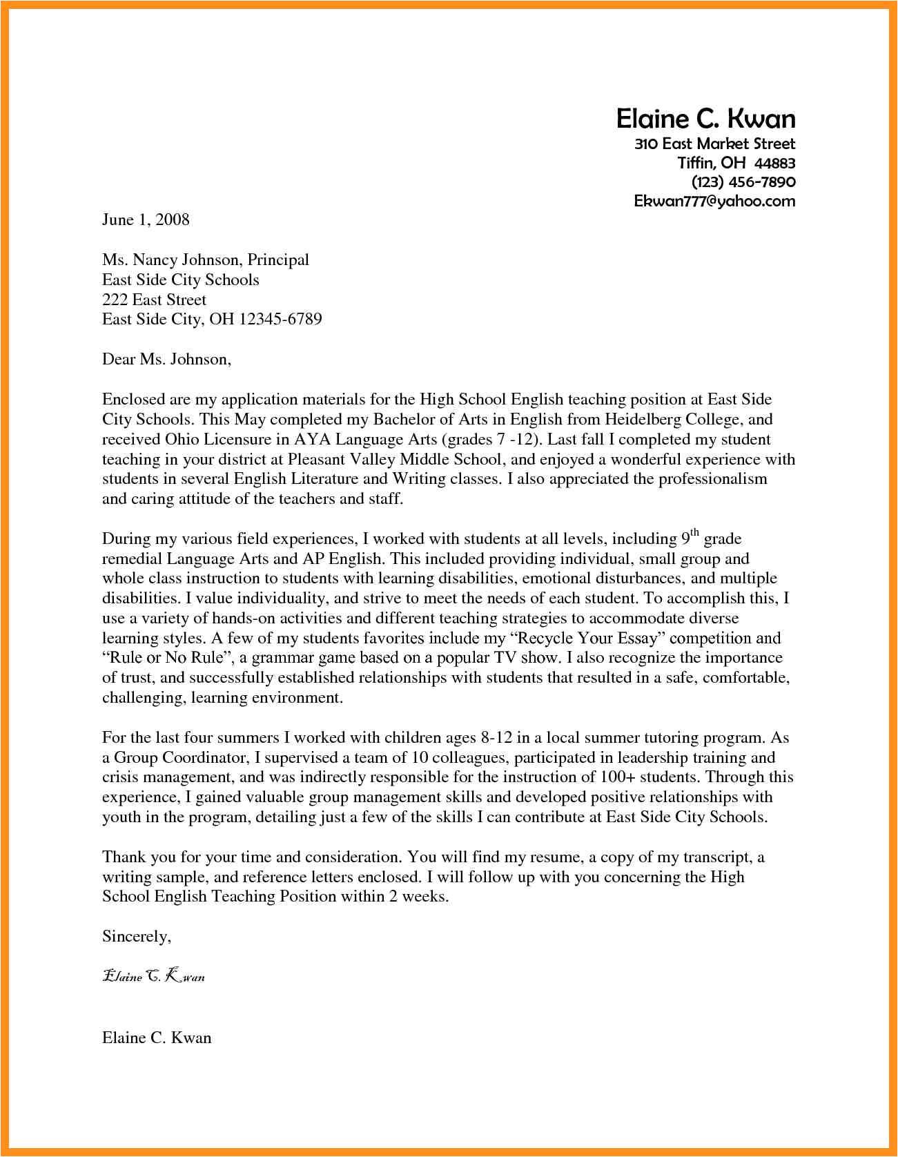 Cover Letter Samples for Teaching Positions Cover Letter Teaching Jobs Examples