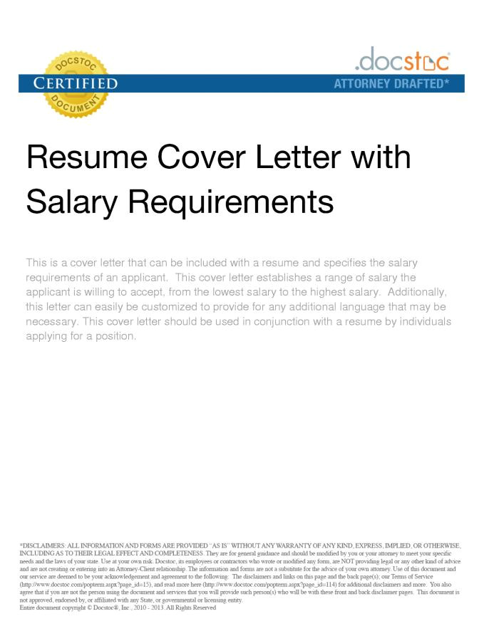 salary expectations cover letter