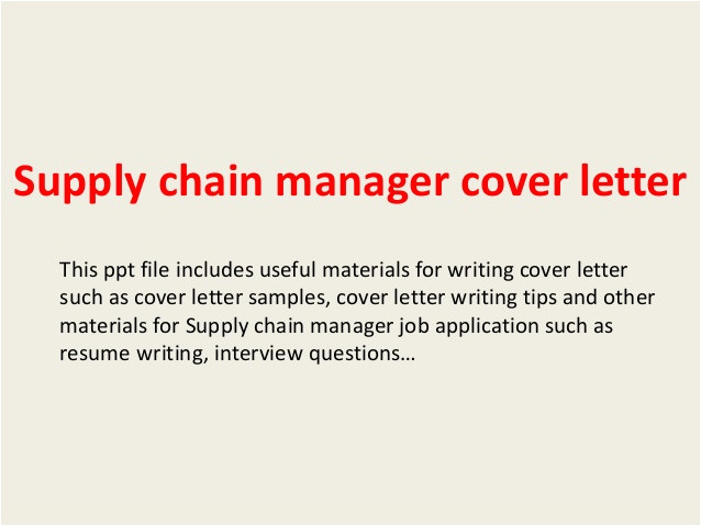Cover Letter Supply Chain Internship Supply Chain Manager Cover Letter