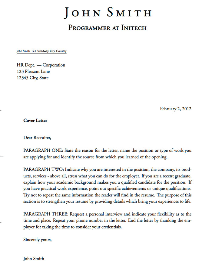 Cover Letter Templets 5 Free Cover Letter Templates Excel Pdf formats