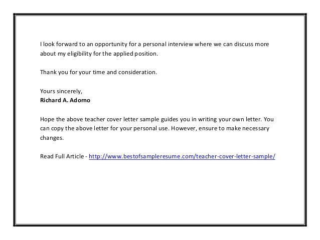 teacher cover letter sample pdf