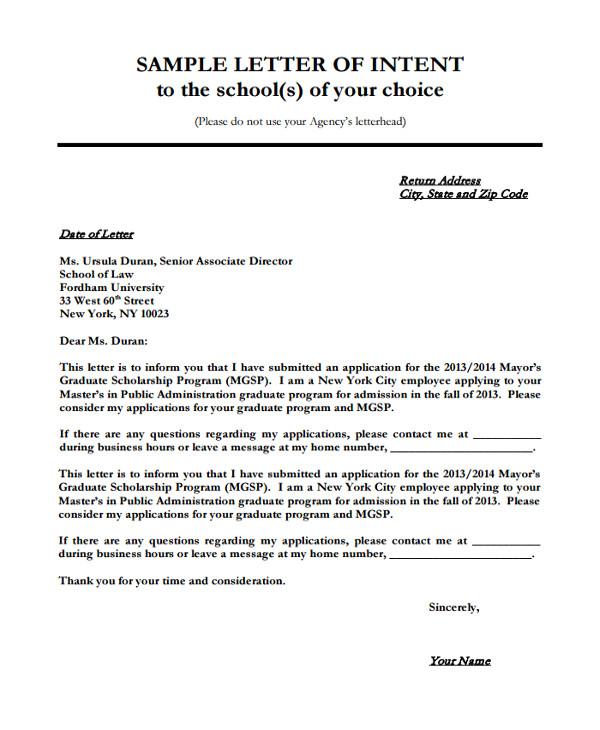 Cover Letter to Apply for University 8 Sample Letter Of Intent for University Pdf Doc