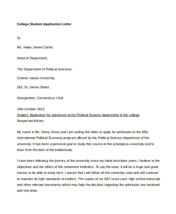 Cover Letter to Apply for University Application Letter for College Instructor