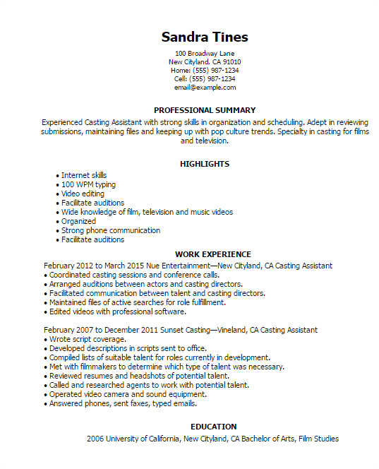 cover letter for casting director examples